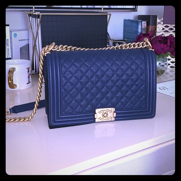 97c762044a34 CHANEL Bags | Le Boy Medium Blue Navy Caviar Leather Bag | Poshmark